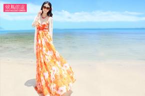 [候鸟旅途]2014新款雪纺连衣裙,360度超大裙摆,打造女神风范,闺蜜出游必选款,送女神必选款,旅游度假必选款。(5件)