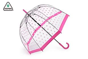 【新】英国FULTON透明女王鸟笼伞女士长柄伞进口透明雨伞
