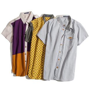 满149减30 no1dara 2017夏季新款韩版男士短袖衬衫