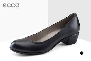 【前10件立减50元】ECCO爱步欧美春夏新品正装牛皮女鞋粗跟浅口低跟鞋 触感35 264083