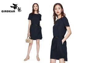 哥弟女装2017夏季新款短袖系腰带扣带直身连衣裙8500012