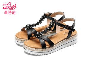 卓诗尼丁字扣坡跟凉鞋女夏2017新款中跟套脚甜美时尚水钻夏季女鞋