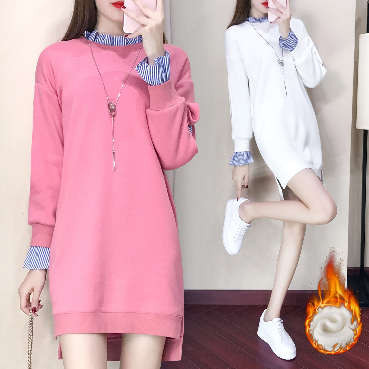 韩版加绒时尚气质假两件<font color='red'><b>连衣裙</b></font>