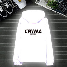 Autumn tide wind proof clothing men's and women's luminous clothing fluorescent clothing night light clothing plush coat students