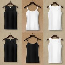 Pure cotton white suspender tank top women's round neck tight and versatile wear outside and inside large spring and summer