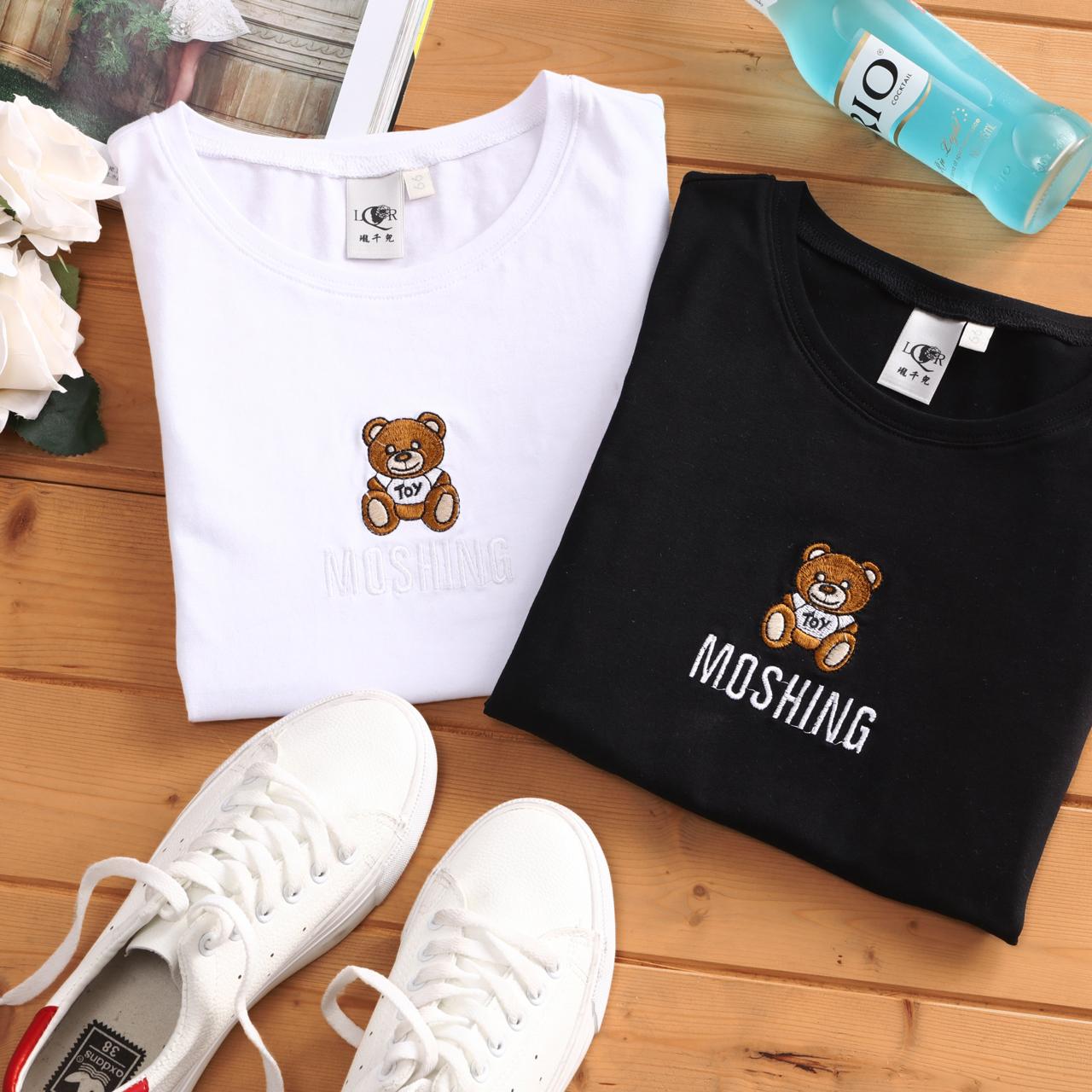 【二件38元、三件48元】夏季绣花小熊印花白色上衣女圆领半袖修身体恤