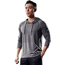 Men's hooded bodybuilding fast drying clothes in spring and summer loose basketball training clothes long sleeves outdoor