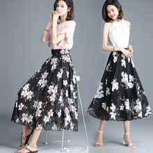 2019 new chiffon skirt women's mid long summer high waist small floral pleated skirt temperament
